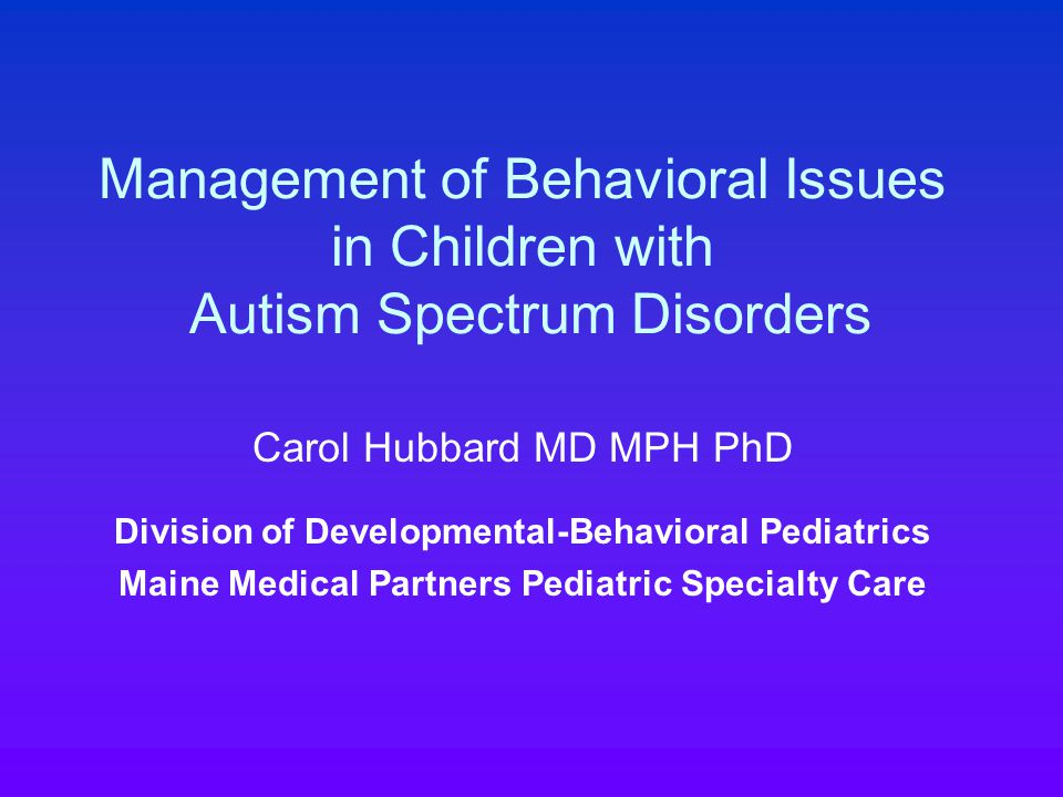 Self-injurious behavior (Minshawi) Most common forms: self-hitting or banging of head or face, and self-biting Can markedly impact adaptive functioning, interfere with normal activities, lead to a more restrictive environment, and result in injury More common in autism than other devel disabilities Inversely correlated with intellectual functioning (4% mild MR, 7% mod, 16% severe, 25% profound) More common in individuals in residential settings (estimated 17% vs 1.7% for community)
