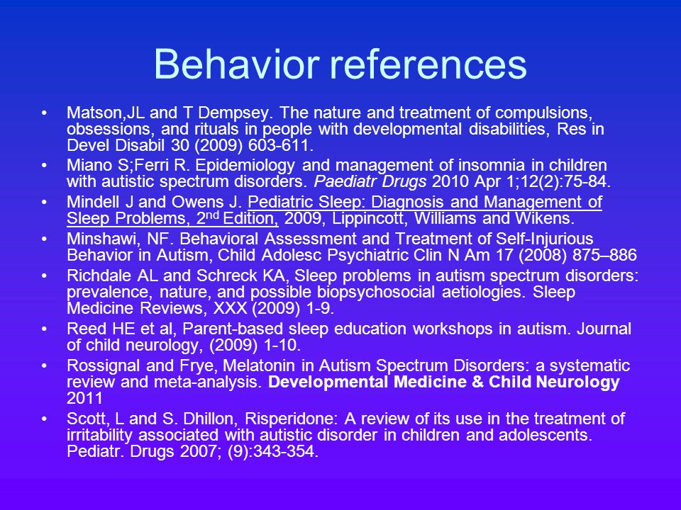 Behavior references Matson,JL and T Dempsey.