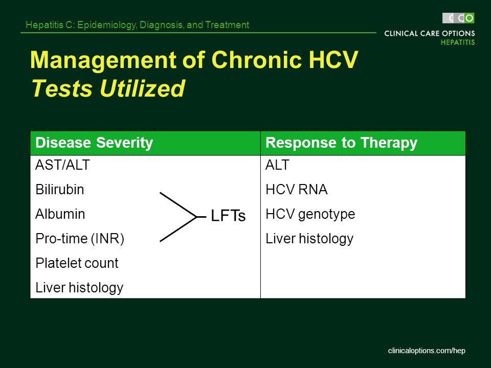 clinicaloptions.com/hep Hepatitis C: Epidemiology, Diagnosis, and Treatment Management of Chronic HCV Tests Utilized Disease SeverityResponse to Thera