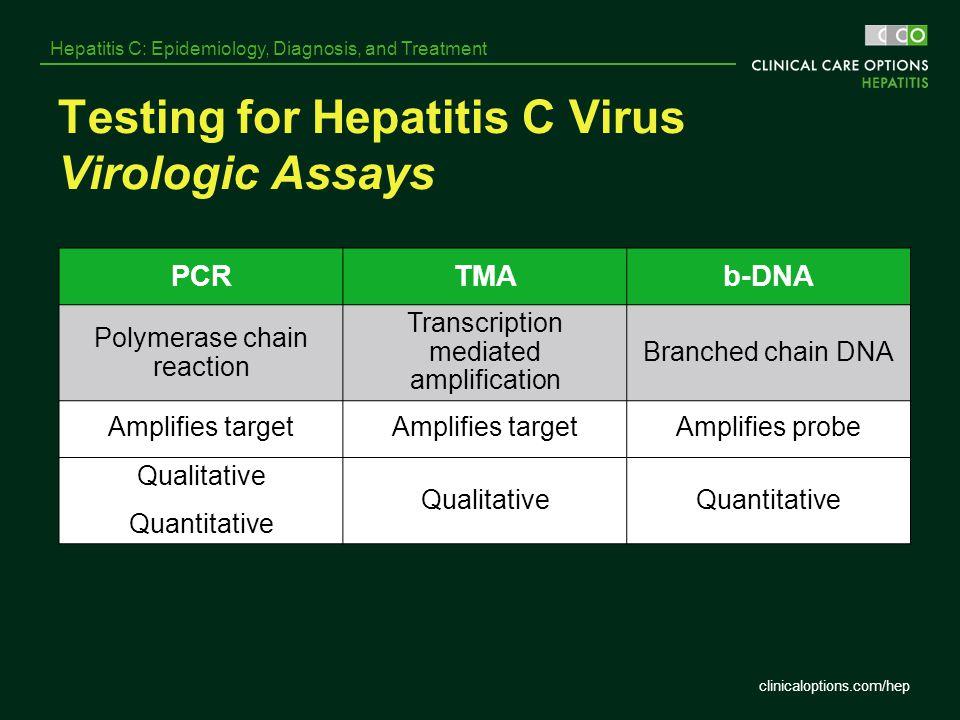 clinicaloptions.com/hep Hepatitis C: Epidemiology, Diagnosis, and Treatment Testing for Hepatitis C Virus Virologic Assays PCRTMAb-DNA Polymerase chai