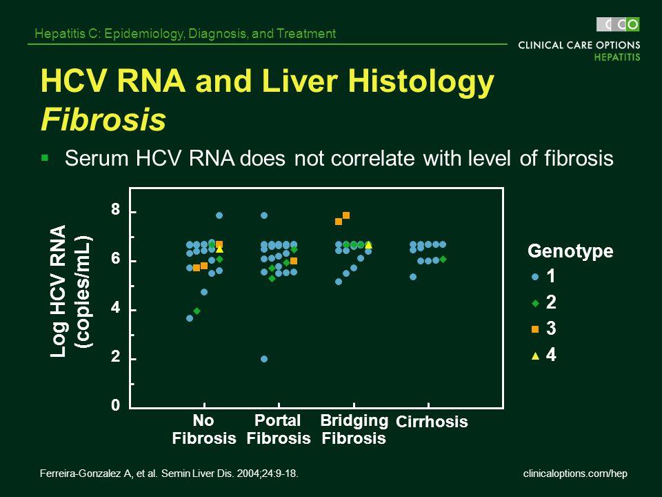 clinicaloptions.com/hep Hepatitis C: Epidemiology, Diagnosis, and Treatment HCV RNA and Liver Histology Fibrosis Genotype No Fibrosis Portal Fibrosis