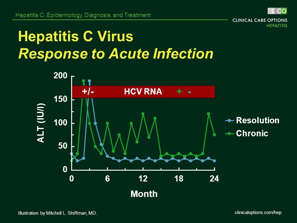 clinicaloptions.com/hep Hepatitis C: Epidemiology, Diagnosis, and Treatment 0 50 100 150 200 06121824 Month ALT (IU/l) Resolution Chronic HCV RNA +/-+