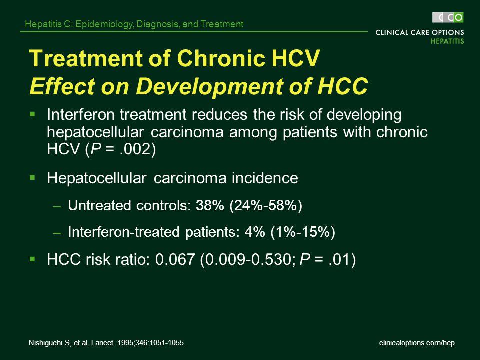 clinicaloptions.com/hep Hepatitis C: Epidemiology, Diagnosis, and Treatment Nishiguchi S, et al. Lancet. 1995;346:1051-1055. Treatment of Chronic HCV