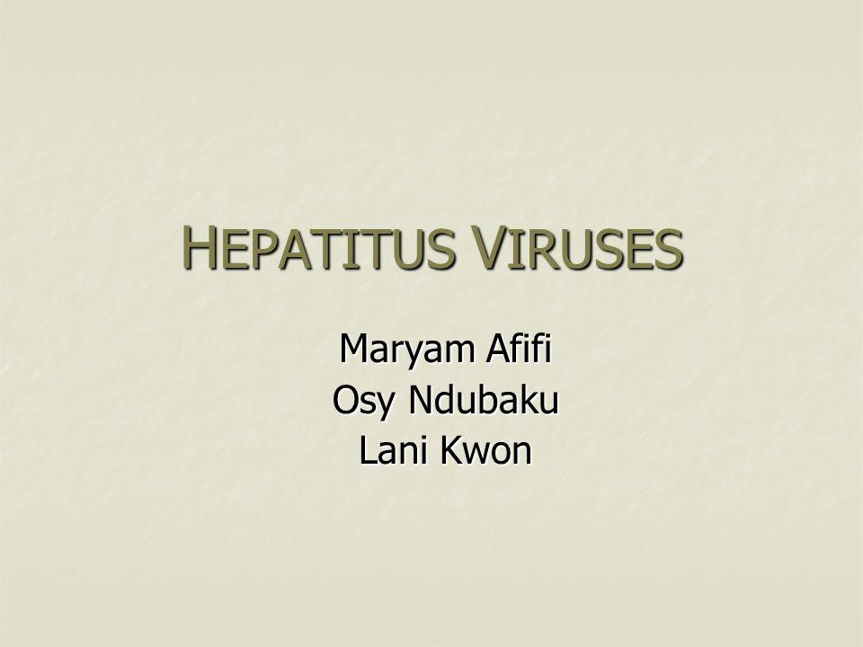 H EPATITUS V IRUSES M aryam A fifi Osy Ndubaku Lani Kwon