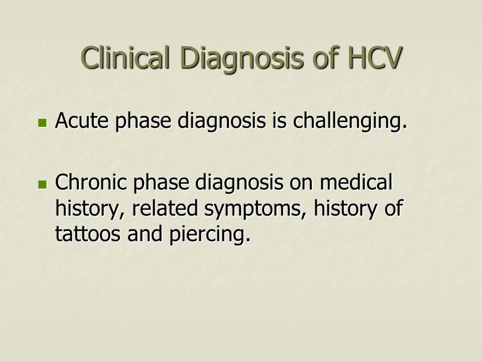 Clinical Diagnosis of HCV Acute phase diagnosis is challenging. Acute phase diagnosis is challenging. Chronic phase diagnosis on medical history, rela