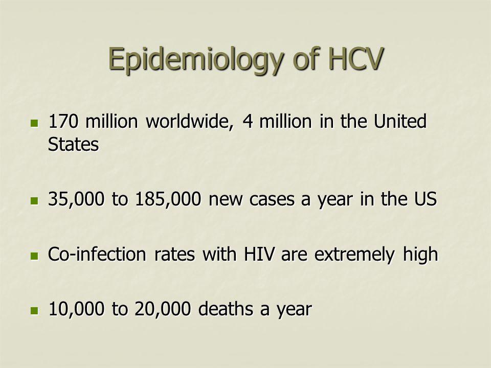 Epidemiology of HCV 170 million worldwide, 4 million in the United States 170 million worldwide, 4 million in the United States 35,000 to 185,000 new