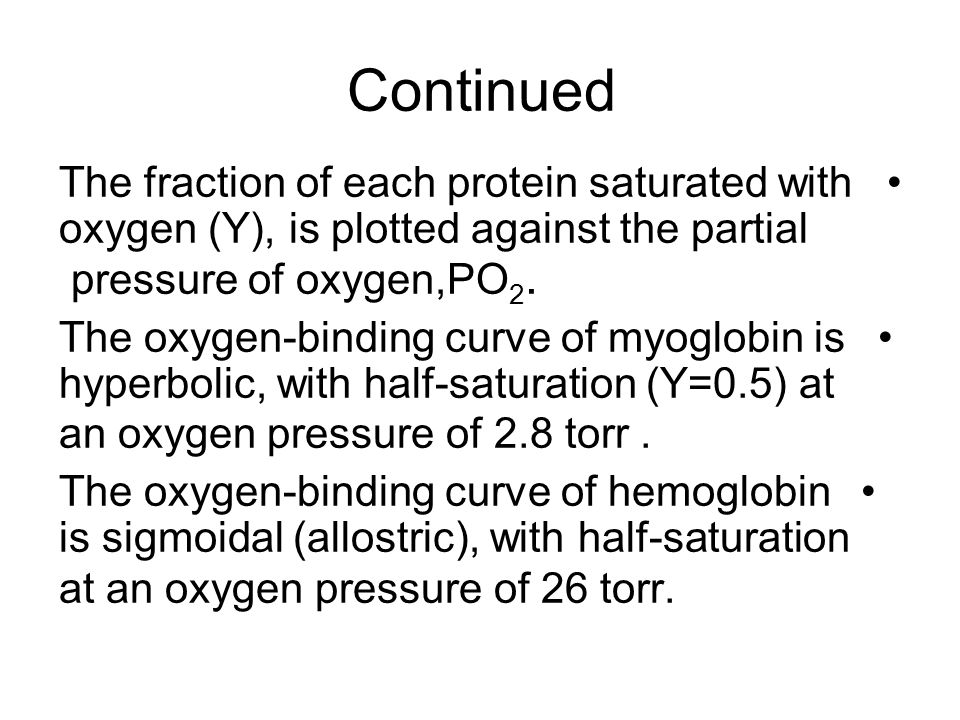 Continued The fraction of each protein saturated with oxygen (Y), is plotted against the partial pressure of oxygen,PO 2. The oxygen-binding curve of