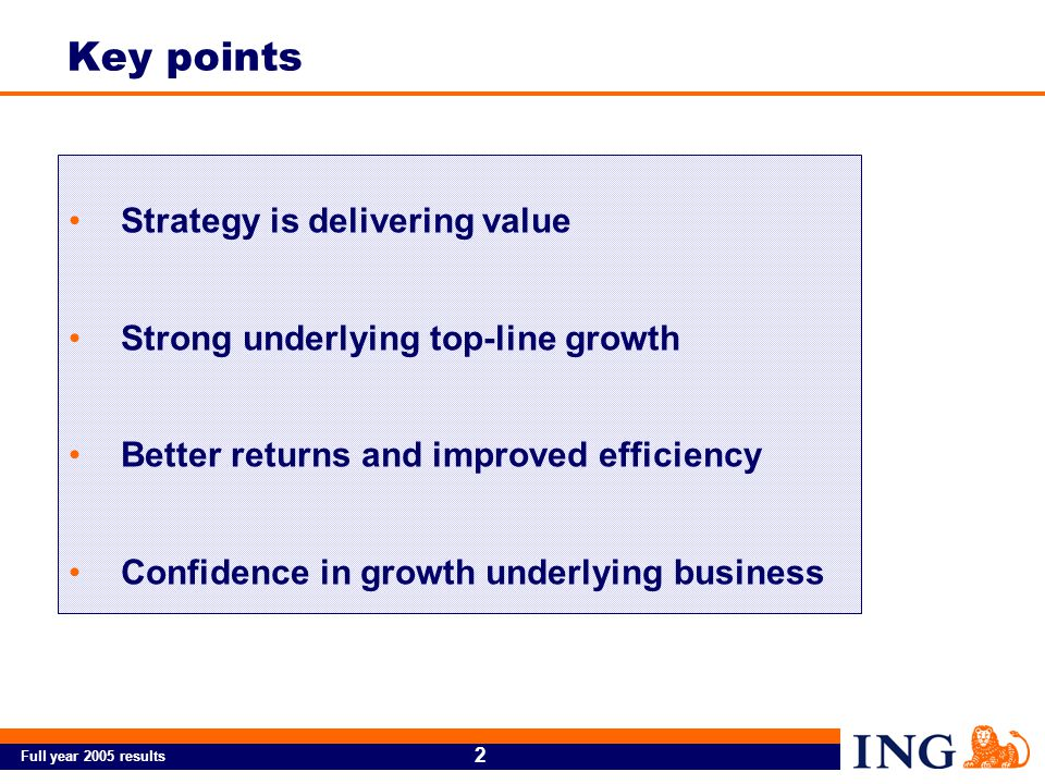 Full year 2005 results 2 Strategy is delivering value Strong underlying top-line growth Better returns and improved efficiency Confidence in growth underlying business Key points