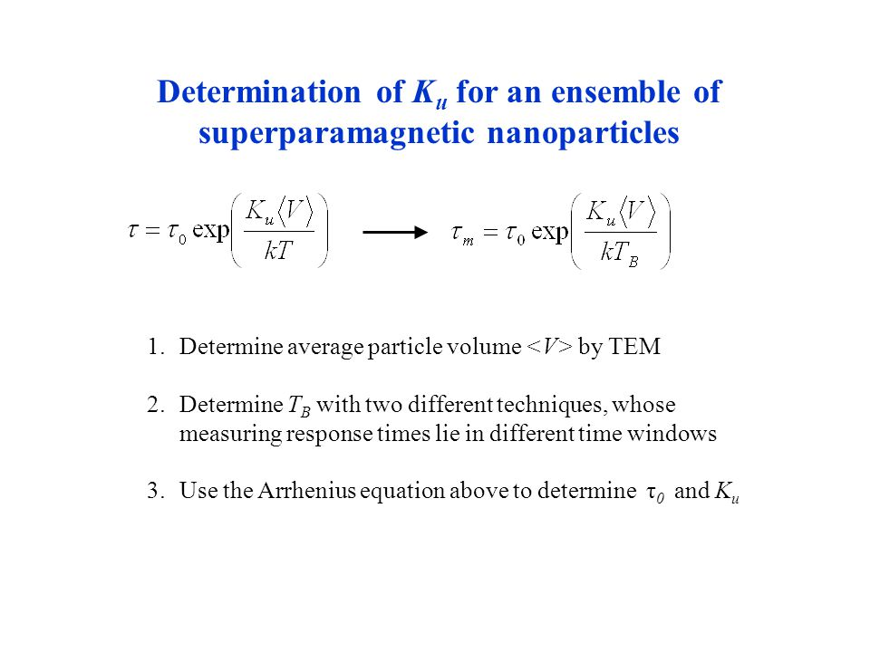 Determination of K u for an ensemble of superparamagnetic nanoparticles 1.Determine average particle volume by TEM 2.Determine T B with two different