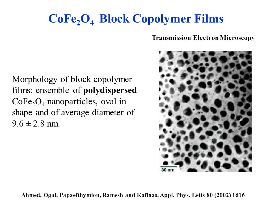 Transmission Electron Microscopy Morphology of block copolymer films: ensemble of polydispersed CoFe 2 O 4 nanoparticles, oval in shape and of average