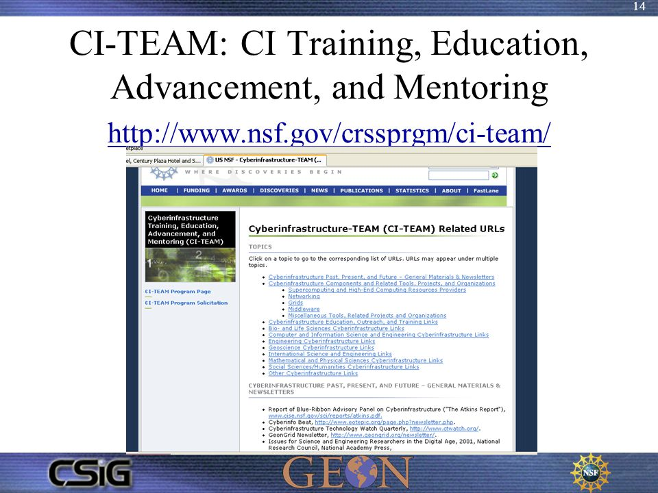 14 CI-TEAM: CI Training, Education, Advancement, and Mentoring http://www.nsf.gov/crssprgm/ci-team/ http://www.nsf.gov/crssprgm/ci-team/