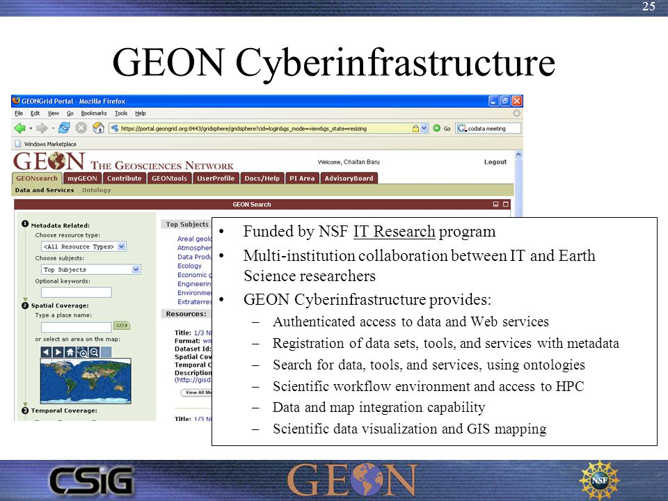 25 GEON Cyberinfrastructure Funded by NSF IT Research program Multi-institution collaboration between IT and Earth Science researchers GEON Cyberinfra
