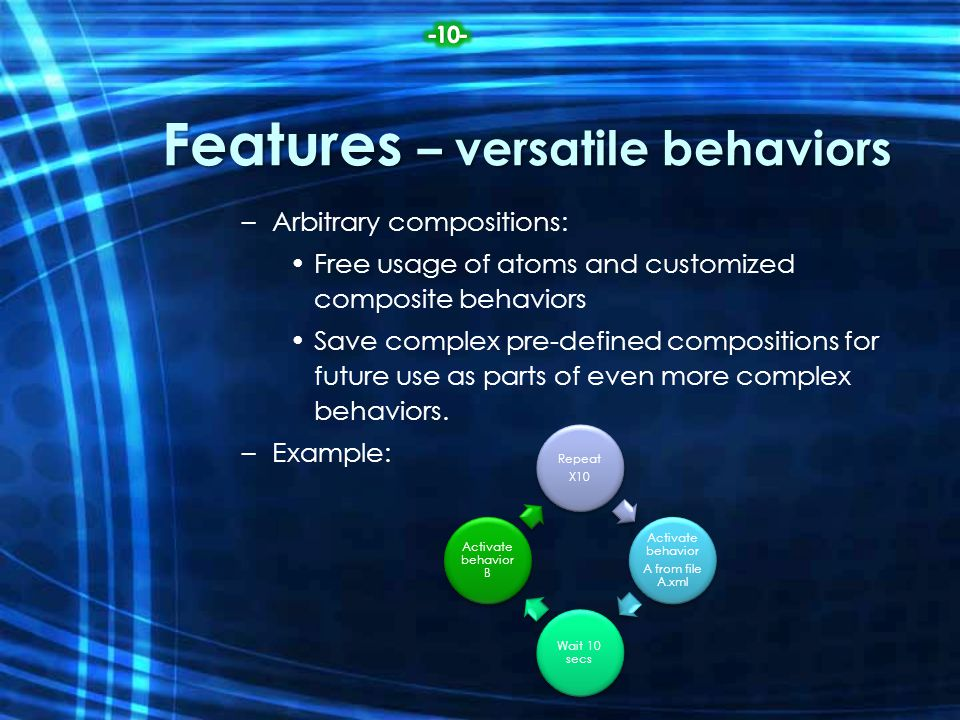 Features – versatile behaviors –Arbitrary compositions: Free usage of atoms and customized composite behaviors Save complex pre-defined compositions f