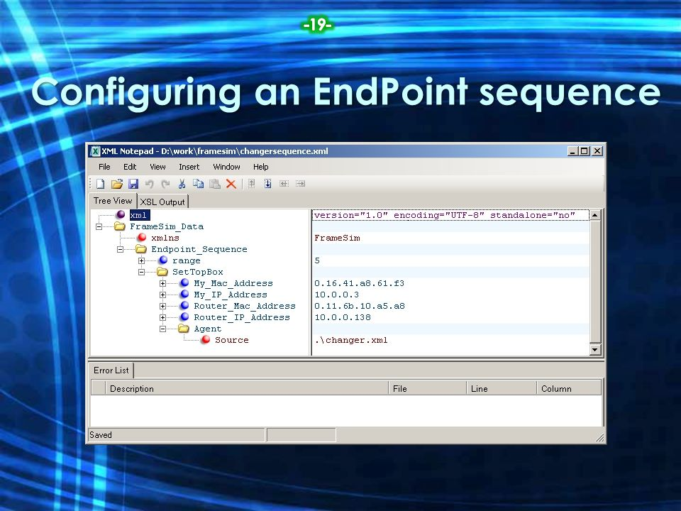 Configuring an EndPoint sequence