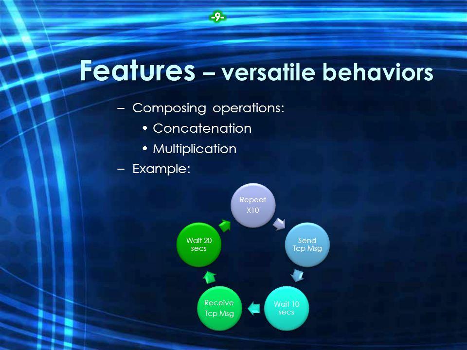 Features – versatile behaviors –Composing operations: Concatenation Multiplication –Example: Repeat X10 Send Tcp Msg Wait 10 secs Receive Tcp Msg Wait