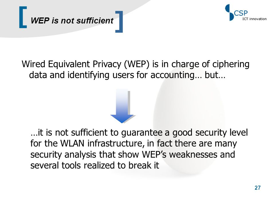 [ 27 Wired Equivalent Privacy (WEP) is in charge of ciphering data and identifying users for accounting… but… …it is not sufficient to guarantee a goo