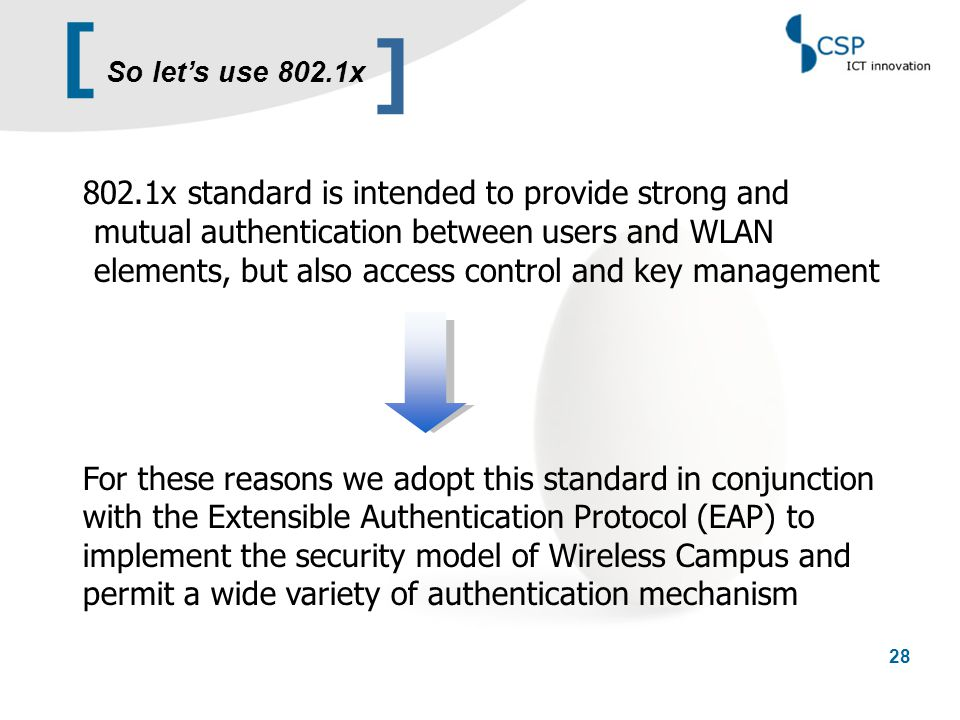 [ 28 802.1x standard is intended to provide strong and mutual authentication between users and WLAN elements, but also access control and key manageme
