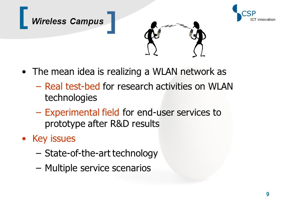 [ 20 Content… ]  CSP profile  Wireless Campus network  User mobility  Security  Further activities