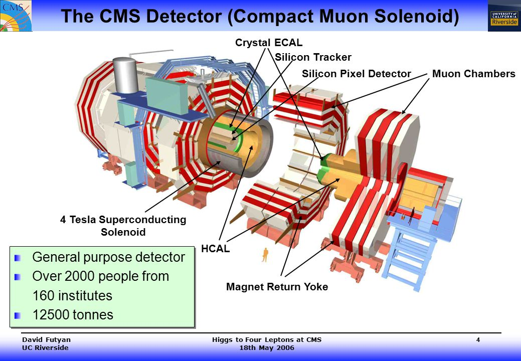 Higgs to Four Leptons at CMS 18th May 2006 David Futyan UC Riverside 4 The CMS Detector (Compact Muon Solenoid) Muon Chambers 4 Tesla Superconducting Solenoid Silicon Tracker Silicon Pixel Detector HCAL Crystal ECAL Magnet Return Yoke General purpose detector Over 2000 people from 160 institutes 12500 tonnes General purpose detector Over 2000 people from 160 institutes 12500 tonnes