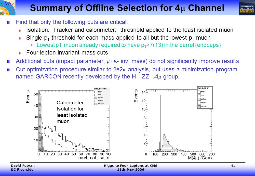 Higgs to Four Leptons at CMS 18th May 2006 David Futyan UC Riverside 41 Summary of Offline Selection for 4  Channel Find that only the following cuts are critical: Isolation: Tracker and calorimeter: threshold applied to the least isolated muon Single p T threshold for each mass applied to all but the lowest p T muon Lowest pT muon already required to have p T >7(13) in the barrel (endcaps) Four lepton invariant mass cuts Additional cuts (impact parameter,  +  - inv.