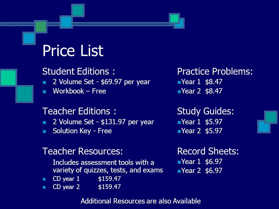Price List Student Editions : 2 Volume Set - $69.97 per year Workbook – Free Teacher Editions : 2 Volume Set - $131.97 per year Solution Key - Free Teacher Resources: Includes assessment tools with a variety of quizzes, tests, and exams CD year 1$159.47 CD year 2$159.47 Practice Problems: Year 1$8.47 Year 2$8.47 Study Guides: Year 1$5.97 Year 2$5.97 Record Sheets: Year 1$6.97 Year 2$6.97 Additional Resources are also Available
