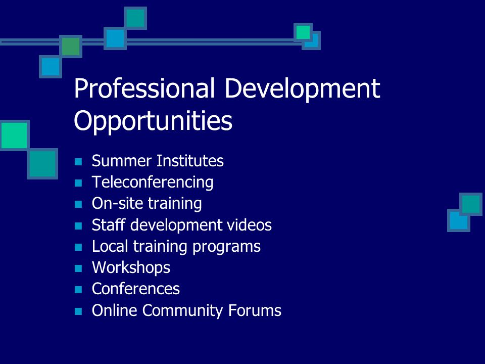 Professional Development Opportunities Summer Institutes Teleconferencing On-site training Staff development videos Local training programs Workshops Conferences Online Community Forums