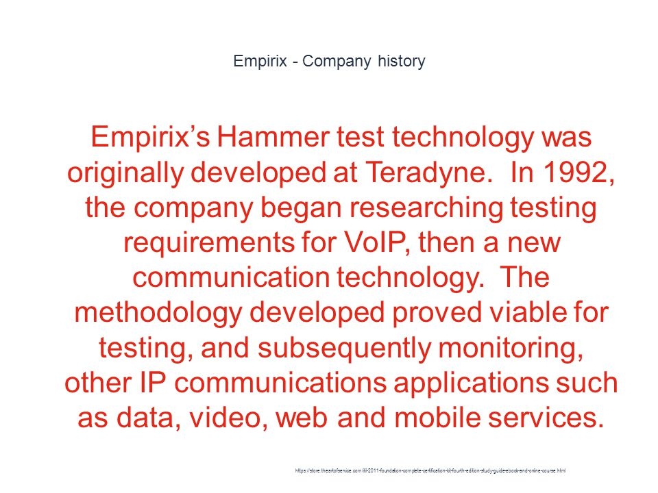 Empirix - Company history 1 Empirix's Hammer test technology was originally developed at Teradyne.