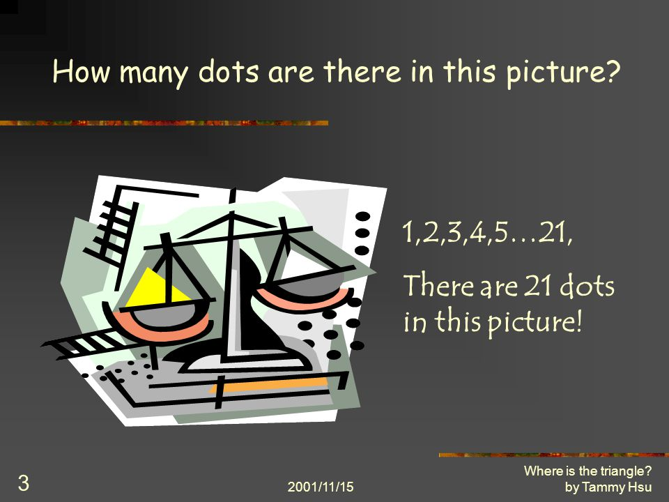 2001/11/15 Where is the triangle. by Tammy Hsu 3 How many dots are there in this picture.