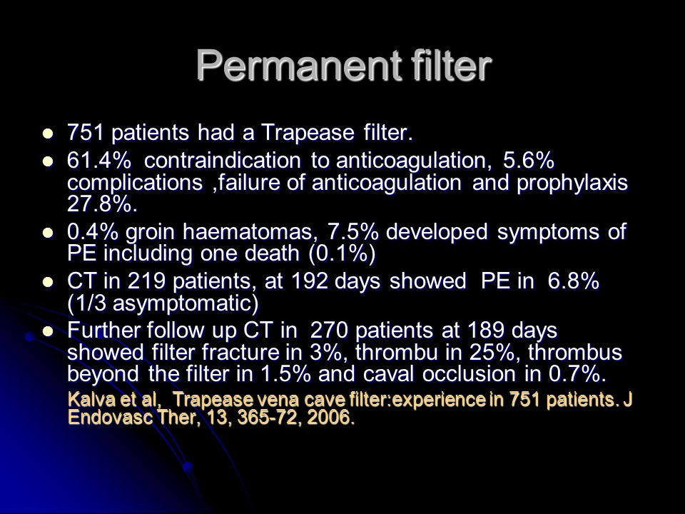 Permanent filter 751 patients had a Trapease filter.