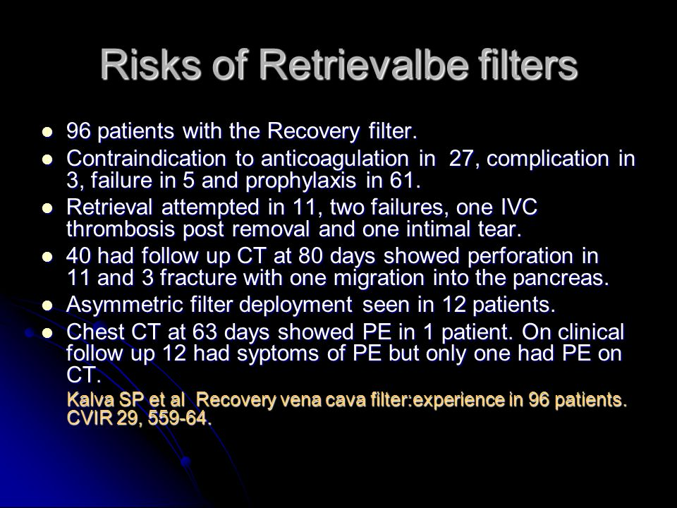 Risks of Retrievalbe filters 96 patients with the Recovery filter.