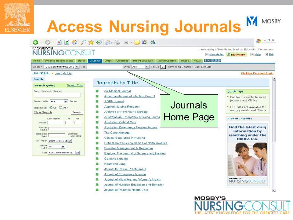 24 Access Nursing Journals Journals Home Page