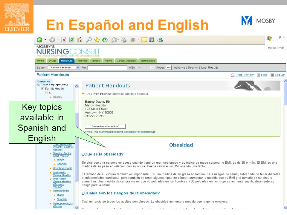 41 En Español and English Key topics available in Spanish and English
