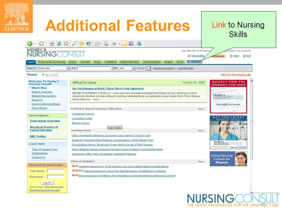 55 Additional Features Link to Nursing Skills