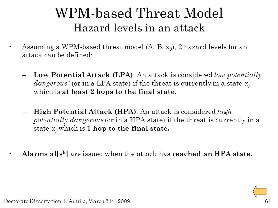 Doctorate Dissertation, L'Aquila, March 31 st 200961 Assuming a WPM-based threat model (A, B, x 0 ), 2 hazard levels for an attack can be defined: – Low Potential Attack (LPA).