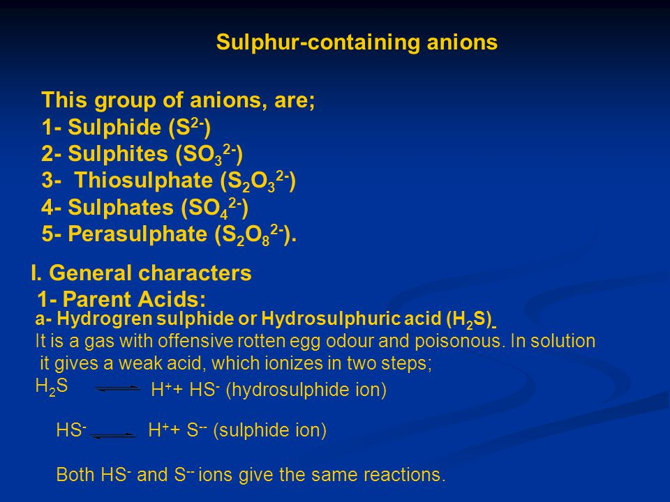 Sulphur-containing anions This group of anions, are; 1- Sulphide (S 2- ) 2- Sulphites (SO 3 2- ) 3- Thiosulphate (S 2 O 3 2- ) 4- Sulphates (SO 4 2- )