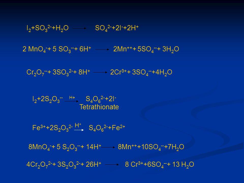 I 2 +SO 3 2- +H 2 O SO 4 2- +2I - +2H + 2 MnO 4 - + 5 SO 3 -- + 6H + 2Mn ++ + 5SO 4 -- + 3H 2 O Cr 2 O 7 -- + 3SO 3 2- + 8H + 2Cr 3+ + 3SO 4 -- +4H 2