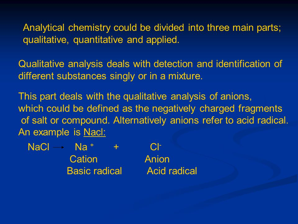 Anions are divided into six groups: 1- Carbonates and Bicarbonates group 2- Sulphur-containing anions 3- Halides 4- Cyanogen anions 5- Arsinic and phosphorous containing anions 6- Nitrogen- containing anions