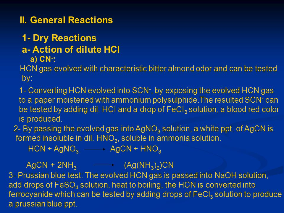 II. General Reactions 1- Dry Reactions a- Action of dilute HCl a) CN - : HCN gas evolved with characteristic bitter almond odor and can be tested by: