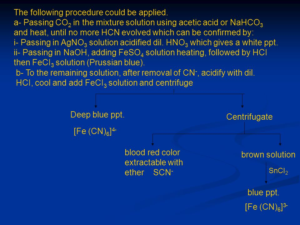 The following procedure could be applied. a- Passing CO 2 in the mixture solution using acetic acid or NaHCO 3 and heat, until no more HCN evolved whi
