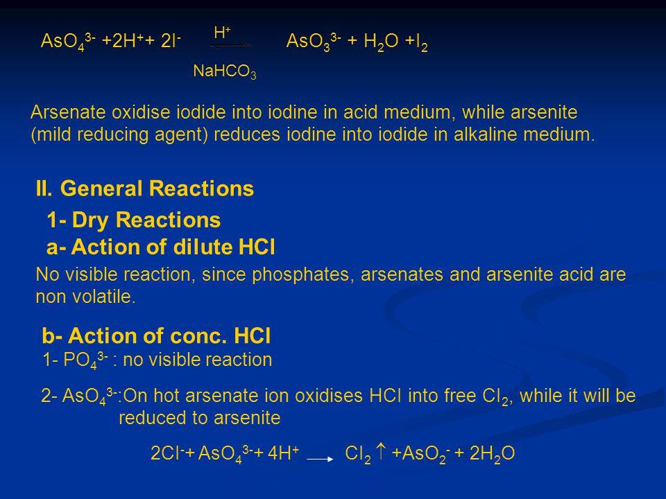 AsO 4 3- +2H + + 2I - AsO 3 3- + H 2 O +I 2 H+H+ NaHCO 3 Arsenate oxidise iodide into iodine in acid medium, while arsenite (mild reducing agent) redu