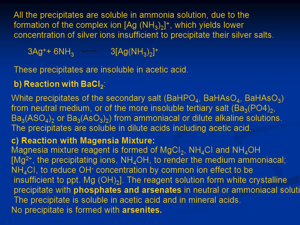 All the precipitates are soluble in ammonia solution, due to the formation of the complex ion [Ag (NH 3 ) 2 ] +, which yields lower concentration of s