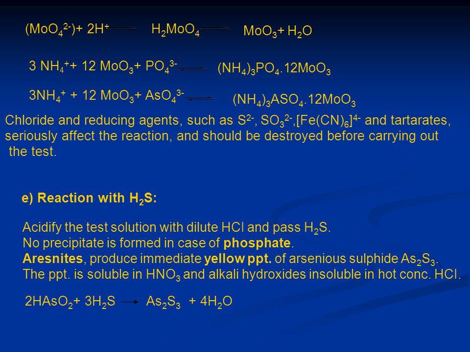 (MoO 4 2- )+ 2H + H 2 MoO 4 3 NH 4 + + 12 MoO 3 + PO 4 3- 3NH 4 + + 12 MoO 3 + AsO 4 3- (NH 4 ) 3 ASO 4.12MoO 3 MoO 3 + H 2 O (NH 4 ) 3 PO 4.12MoO 3 C