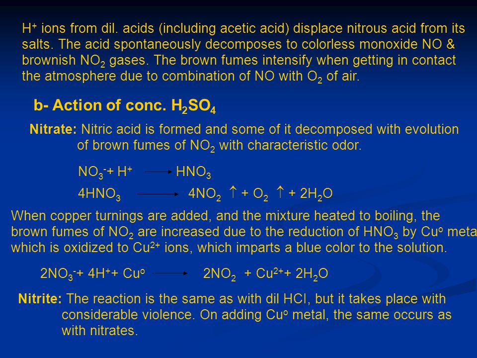 H + ions from dil. acids (including acetic acid) displace nitrous acid from its salts. The acid spontaneously decomposes to colorless monoxide NO & br