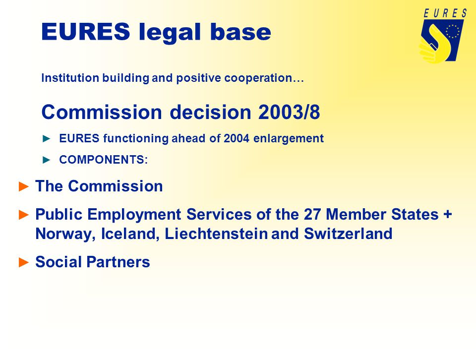 EURES legal base Institution building and positive cooperation… Commission decision 2003/8 ► EURES functioning ahead of 2004 enlargement ► COMPONENTS: ► The Commission ► Public Employment Services of the 27 Member States + Norway, Iceland, Liechtenstein and Switzerland ► Social Partners