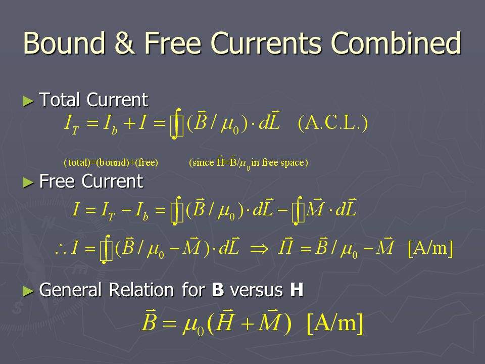 Bound & Free Currents Combined ► Total Current ► Free Current ► General Relation for B versus H