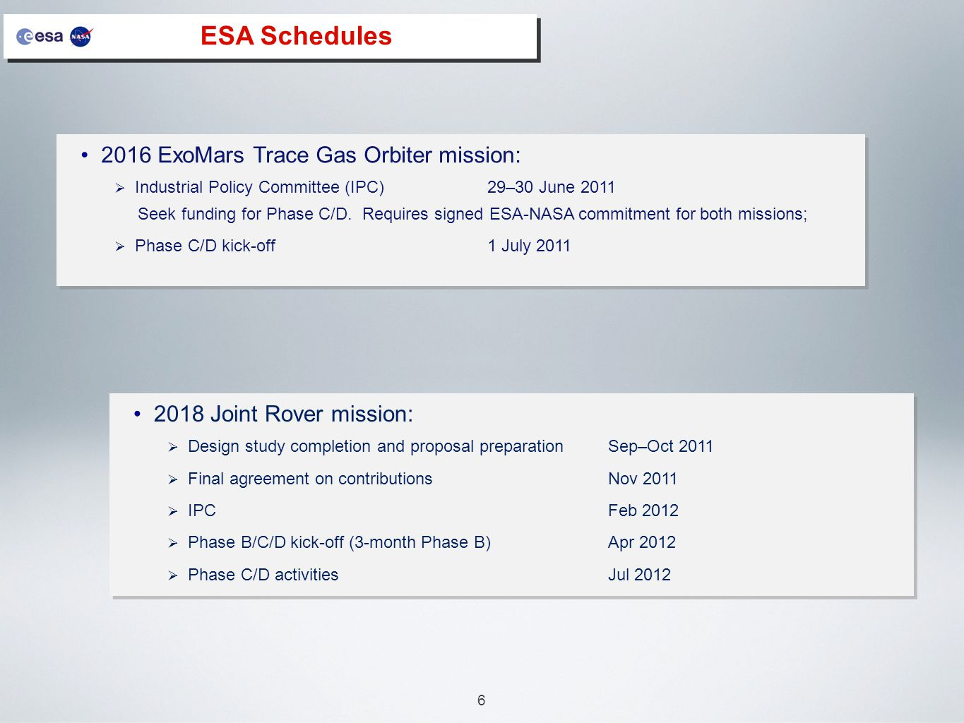 6 ESA Schedules 2016 ExoMars Trace Gas Orbiter mission:  Industrial Policy Committee (IPC)29–30 June 2011 Seek funding for Phase C/D.