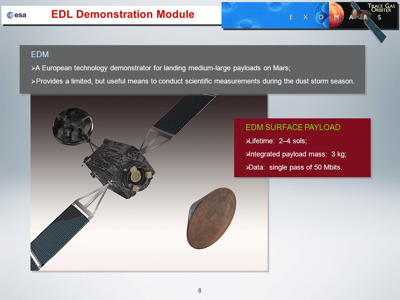 8 EDL Demonstration Module EDM  A European technology demonstrator for landing medium-large payloads on Mars;  Provides a limited, but useful means to conduct scientific measurements during the dust storm season.