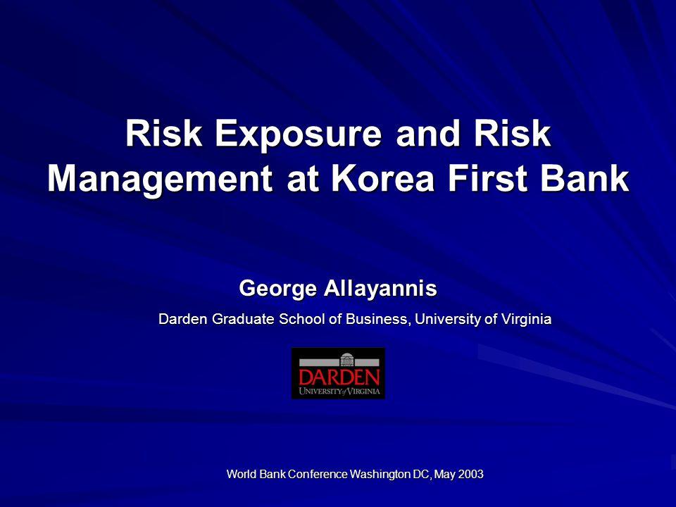 Risk Exposure and Risk Management at Korea First Bank George Allayannis Darden Graduate School of Business, University of Virginia World Bank Conferen