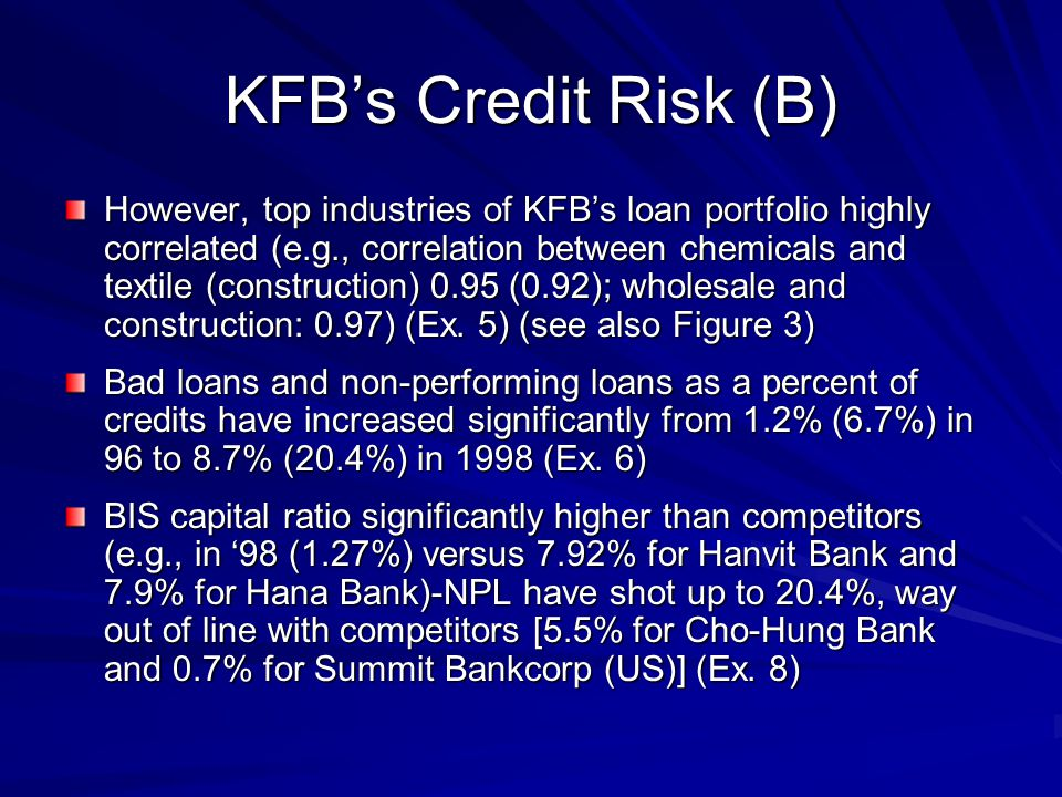 KFB's Credit Risk (B) However, top industries of KFB's loan portfolio highly correlated (e.g., correlation between chemicals and textile (construction