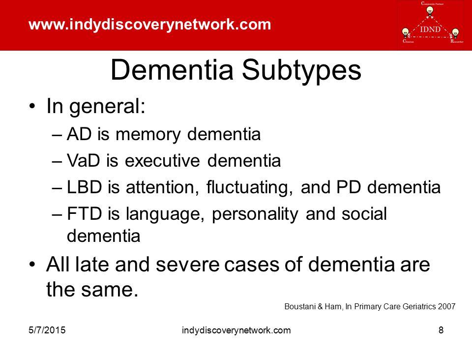 www.indydiscoverynetwork.com 5/7/2015indydiscoverynetwork.com9 Dementia Symptomatology Cognitive Deficit Behavioral & Psychological Sx Functional Disability Caregiver Burden